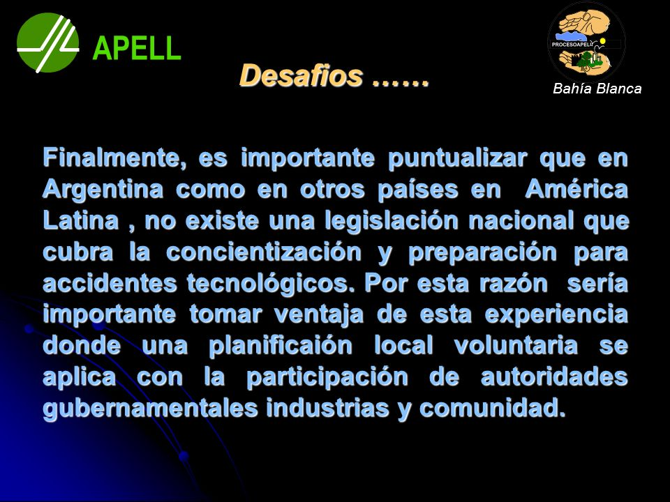 Bahía Blanca APELL. Desafios ……