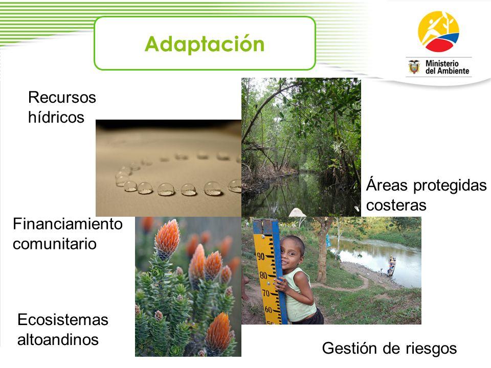 Adaptación Recursos hídricos Áreas protegidas costeras