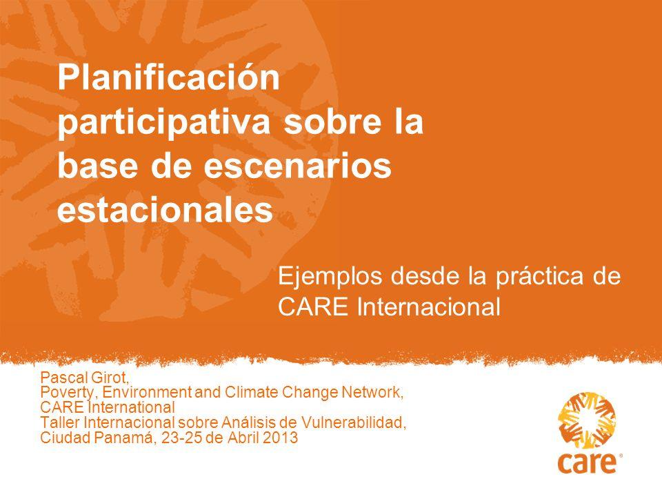 Planificación participativa sobre la base de escenarios estacionales