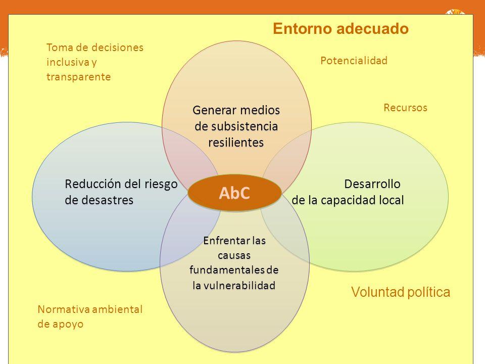 AbC Entorno adecuado Generar medios de subsistencia resilientes