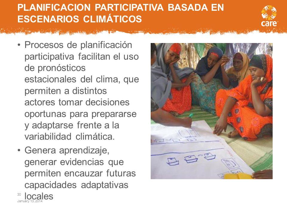 PLANIFICACION PARTICIPATIVA BASADA EN ESCENARIOS CLIMÁTICOS
