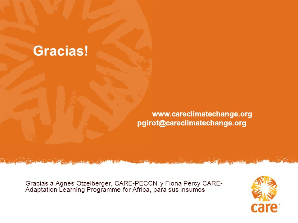 Gracias! www.careclimatechange.org pgirot@careclimatechange.org