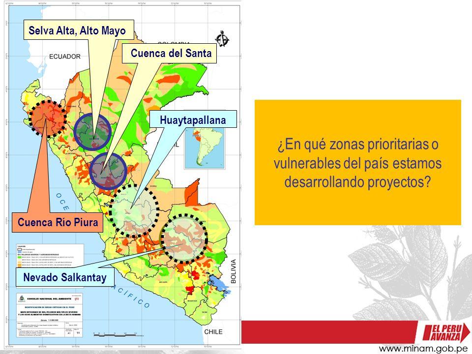Selva Alta, Alto Mayo Cuenca del Santa. ¿En qué zonas prioritarias o vulnerables del país estamos desarrollando proyectos