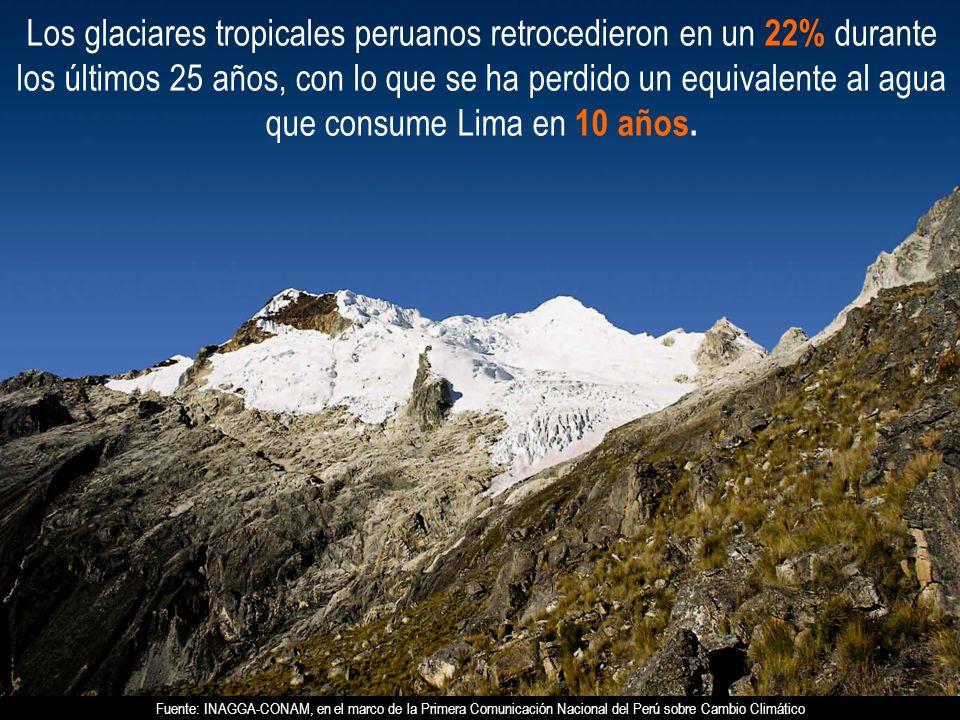 Los glaciares tropicales peruanos retrocedieron en un 22% durante los últimos 25 años, con lo que se ha perdido un equivalente al agua que consume Lima en 10 años.