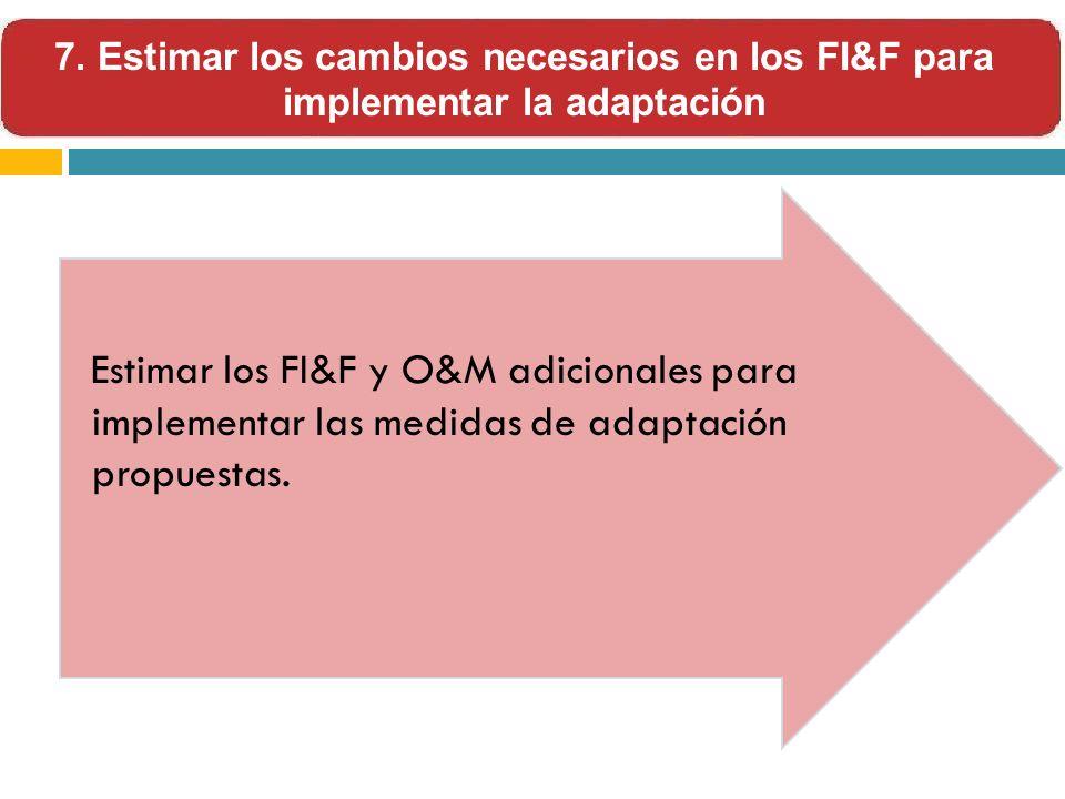 7. Estimar los cambios necesarios en los FI&F para implementar la adaptación