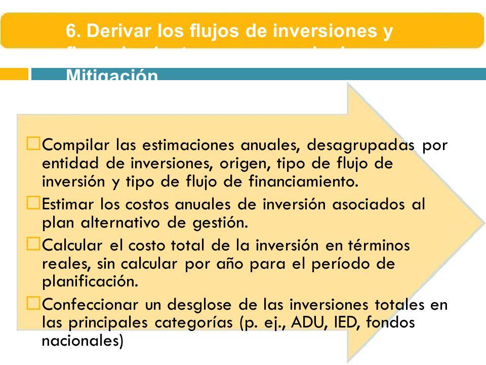6. Derivar los flujos de inversiones y financiamiento por escenario de Mitigación
