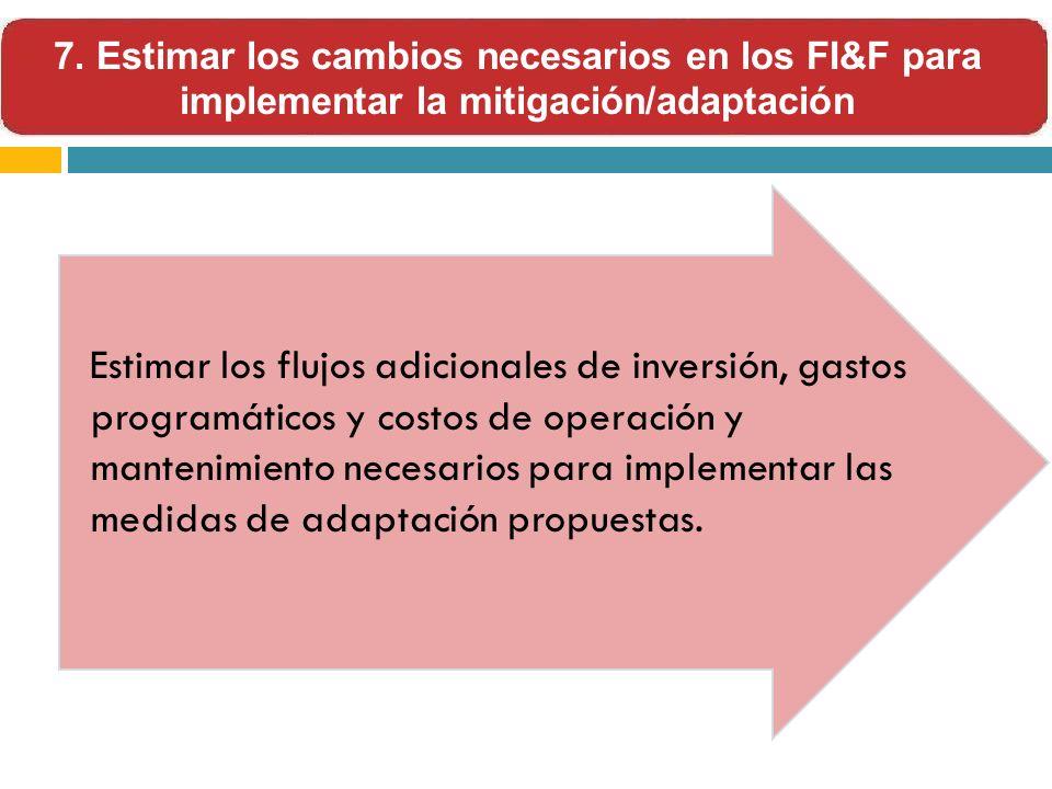 7. Estimar los cambios necesarios en los FI&F para implementar la mitigación/adaptación