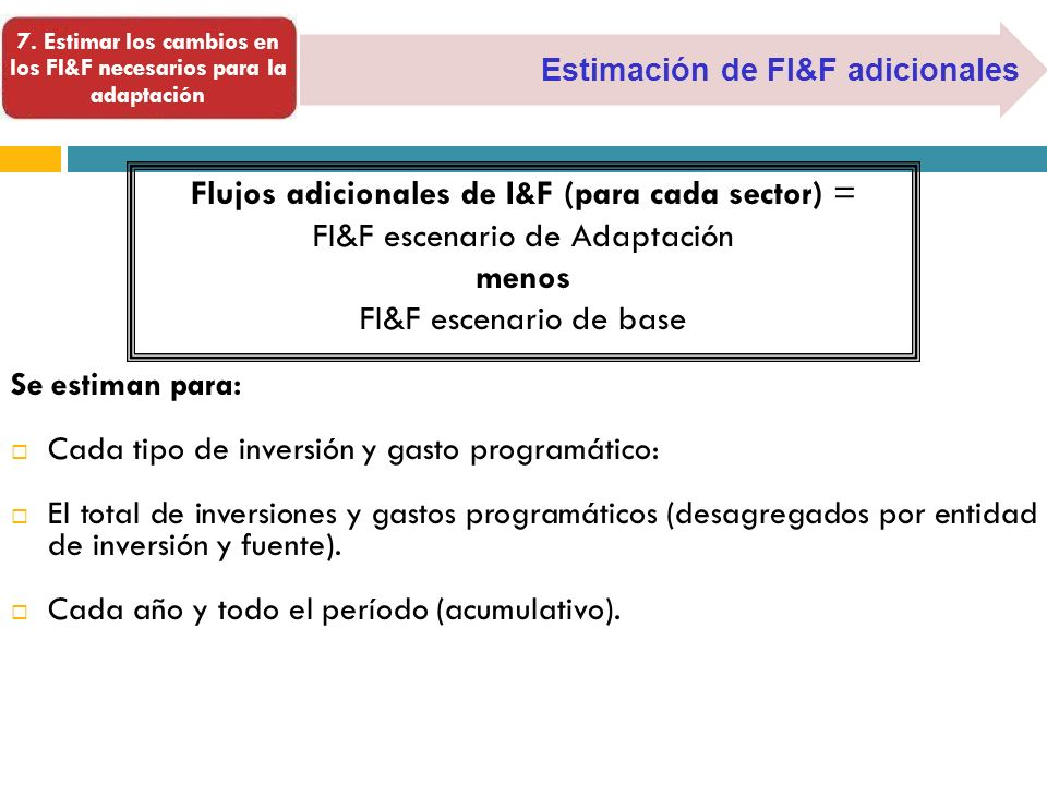 7. Estimar los cambios en los FI&F necesarios para la adaptación