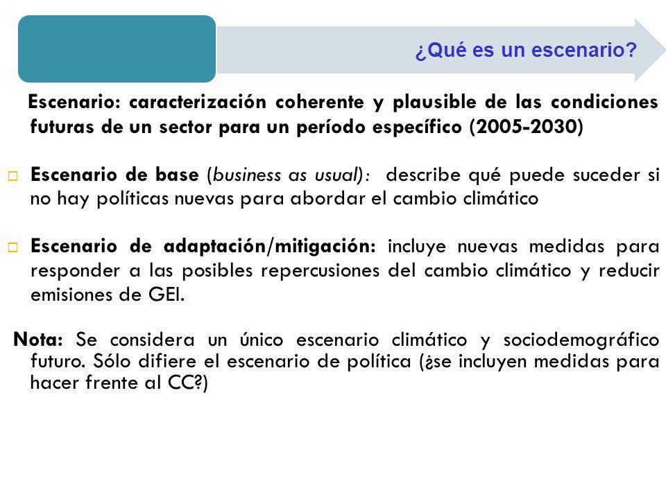 ¿Qué es un escenario Escenario: caracterización coherente y plausible de las condiciones futuras de un sector para un período específico (2005-2030)