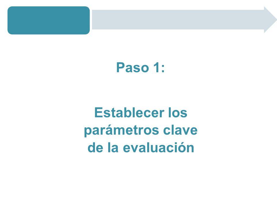 Establecer los parámetros clave de la evaluación