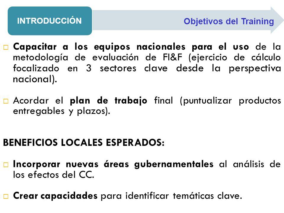 BENEFICIOS LOCALES ESPERADOS: