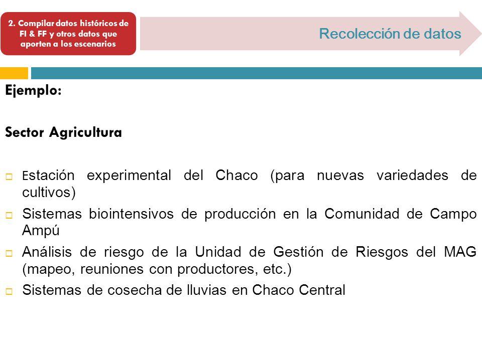 Ejemplo: Sector Agricultura Recolección de datos