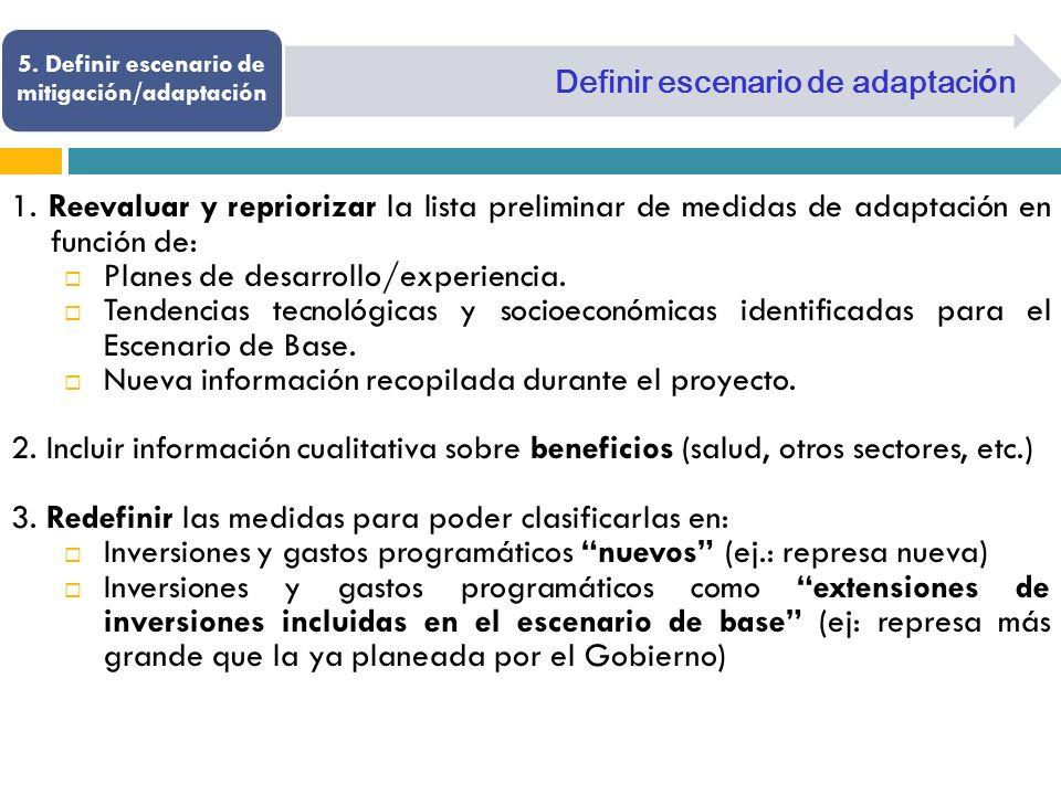 5. Definir escenario de mitigación/adaptación