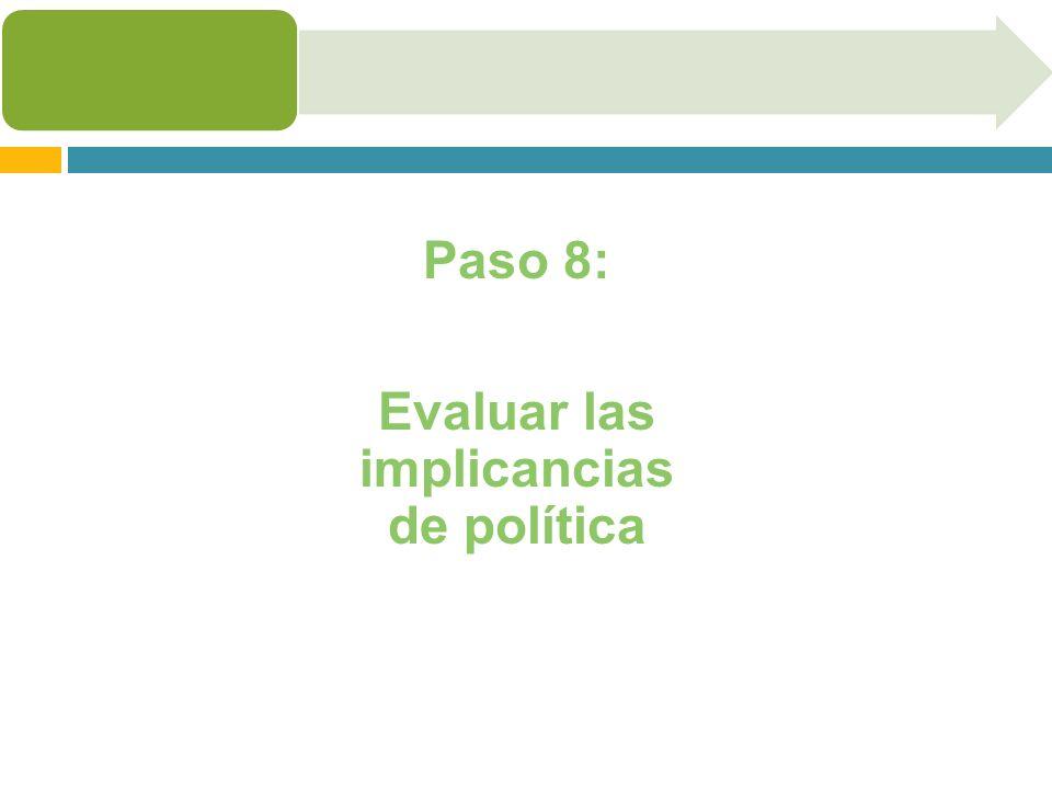 Evaluar las implicancias de política