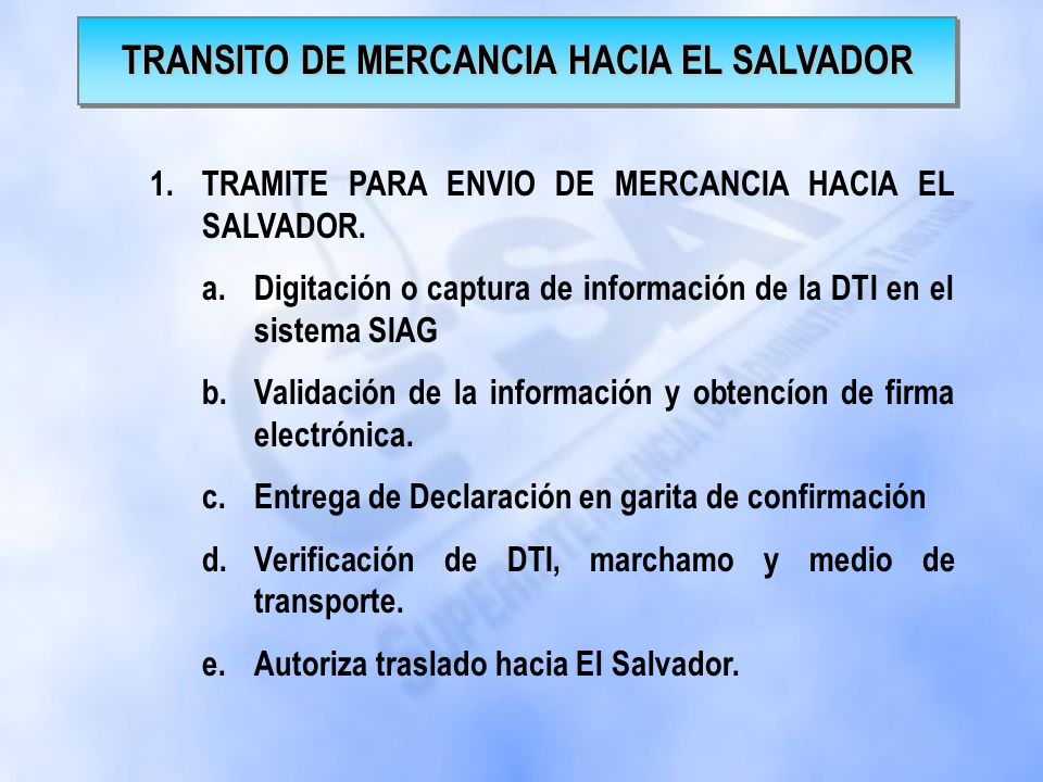 TRANSITO DE MERCANCIA HACIA EL SALVADOR
