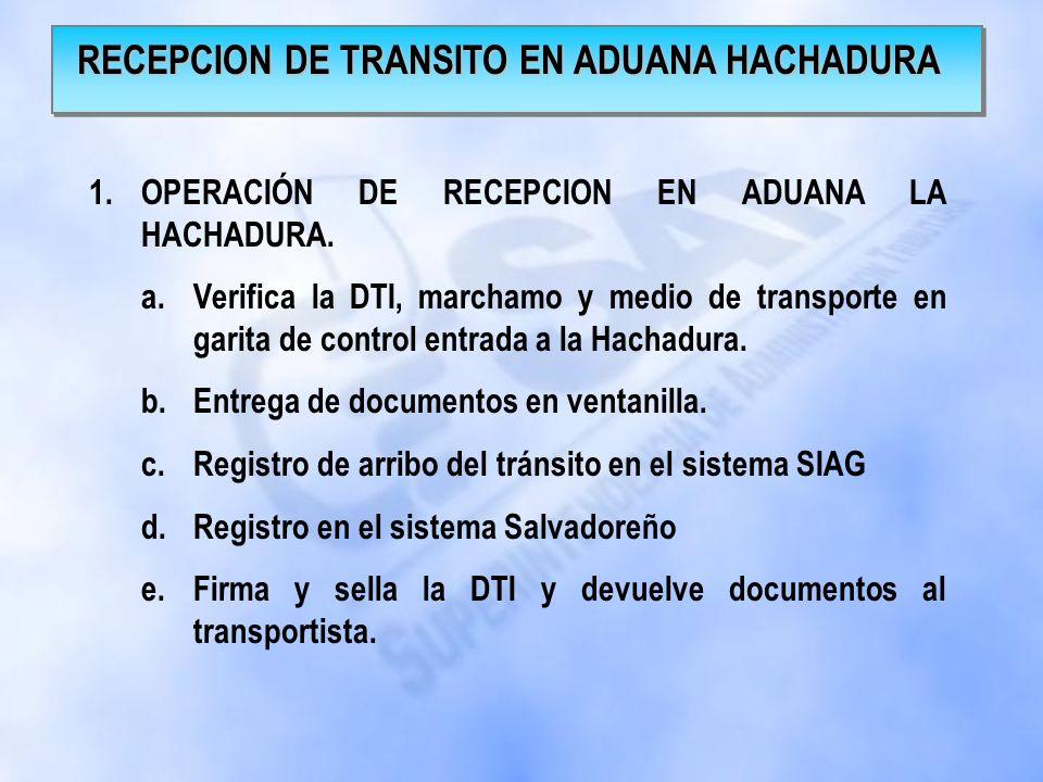 RECEPCION DE TRANSITO EN ADUANA HACHADURA