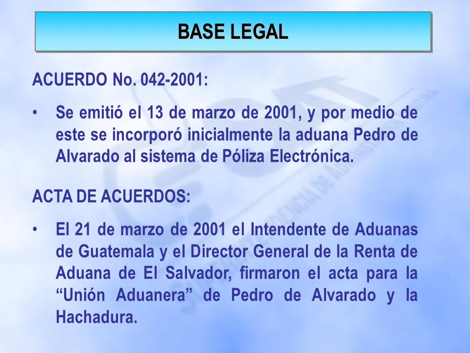BASE LEGAL ACUERDO No. 042-2001: