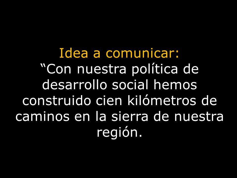 Idea a comunicar: Con nuestra política de desarrollo social hemos construido cien kilómetros de caminos en la sierra de nuestra región.