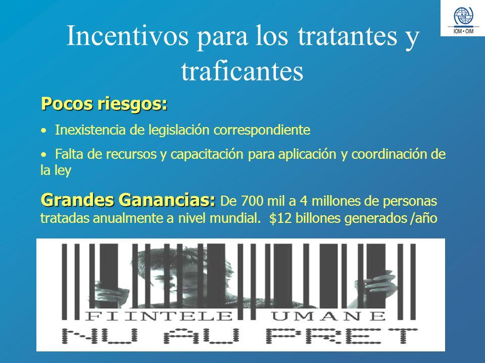 Incentivos para los tratantes y traficantes