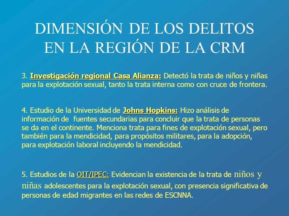 DIMENSIÓN DE LOS DELITOS EN LA REGIÓN DE LA CRM