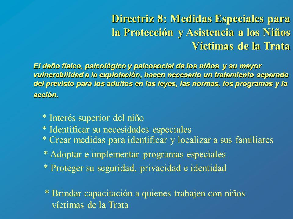 Directriz 8: Medidas Especiales para la Protección y Asistencia a los Niños Víctimas de la Trata