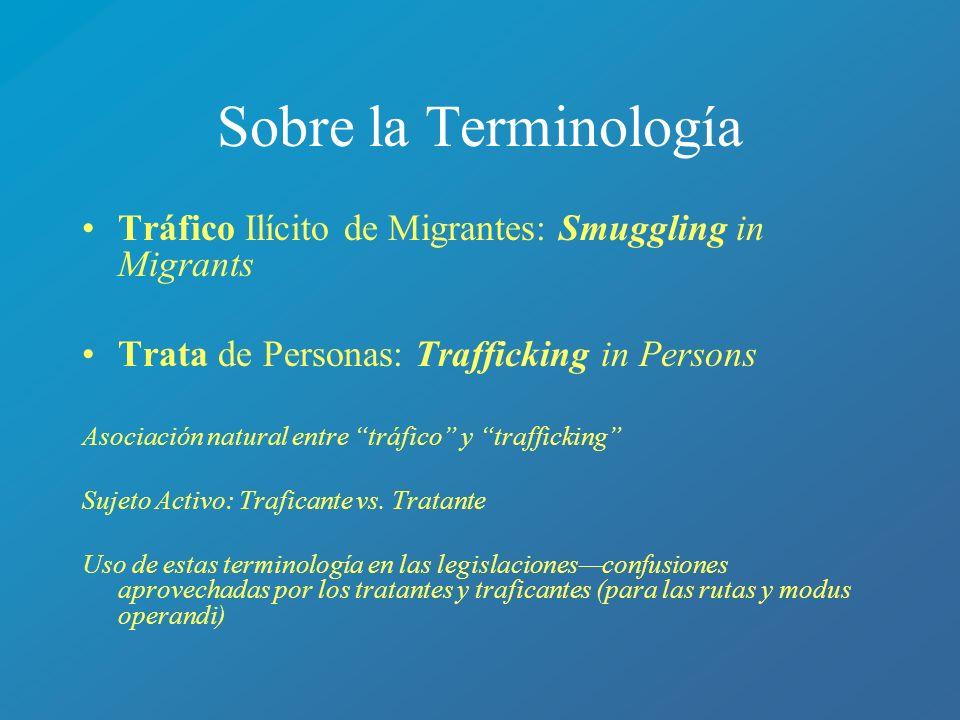 Sobre la Terminología Tráfico Ilícito de Migrantes: Smuggling in Migrants. Trata de Personas: Trafficking in Persons.