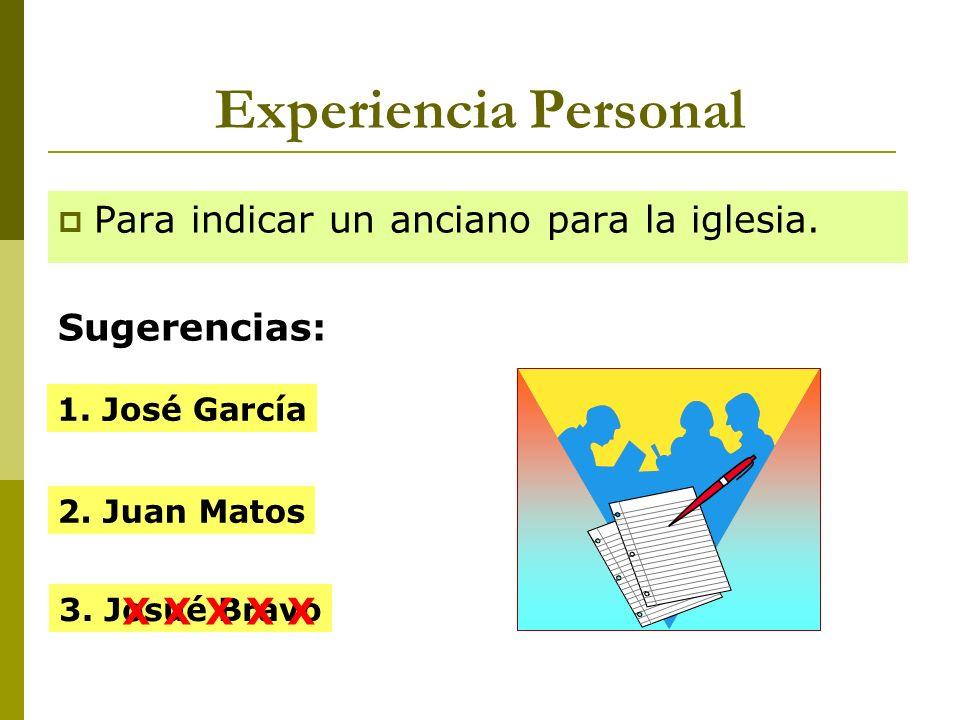 Experiencia Personal Para indicar un anciano para la iglesia.