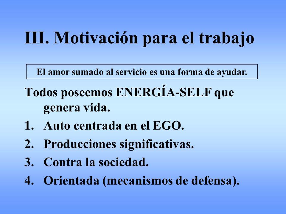 III. Motivación para el trabajo