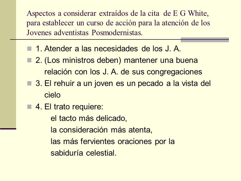 Aspectos a considerar extraídos de la cita de E G White, para establecer un curso de acción para la atención de los Jovenes adventistas Posmodernistas.