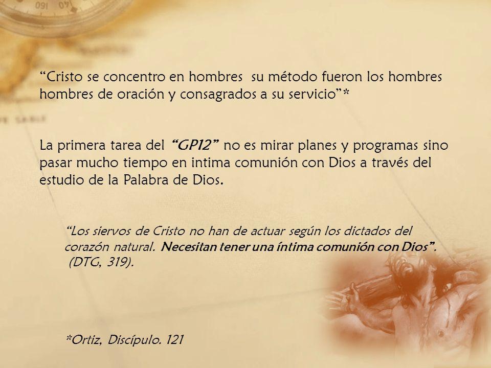 Cristo se concentro en hombres su método fueron los hombres hombres de oración y consagrados a su servicio *