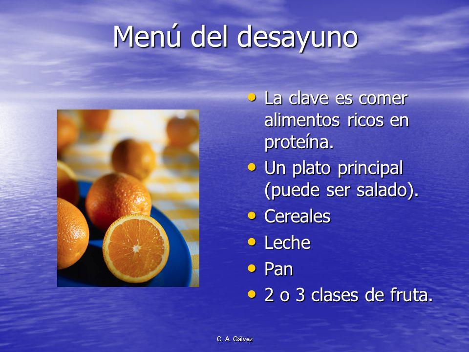 Menú del desayuno La clave es comer alimentos ricos en proteína.