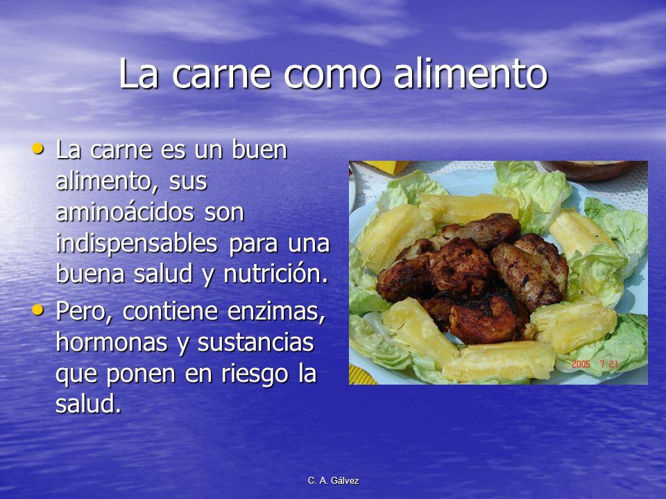 La carne como alimento La carne es un buen alimento, sus aminoácidos son indispensables para una buena salud y nutrición.