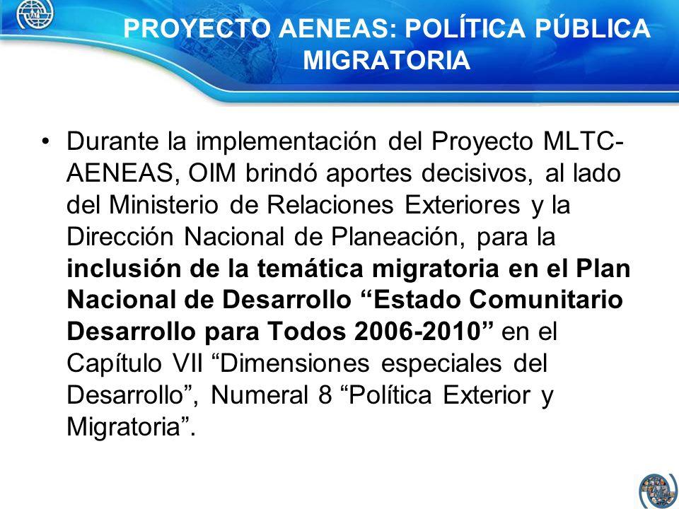 PROYECTO AENEAS: POLÍTICA PÚBLICA MIGRATORIA