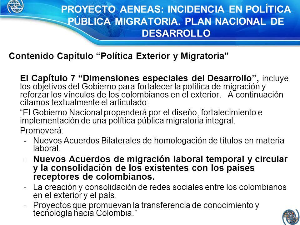 PROYECTO AENEAS: INCIDENCIA EN POLÍTICA PÚBLICA MIGRATORIA