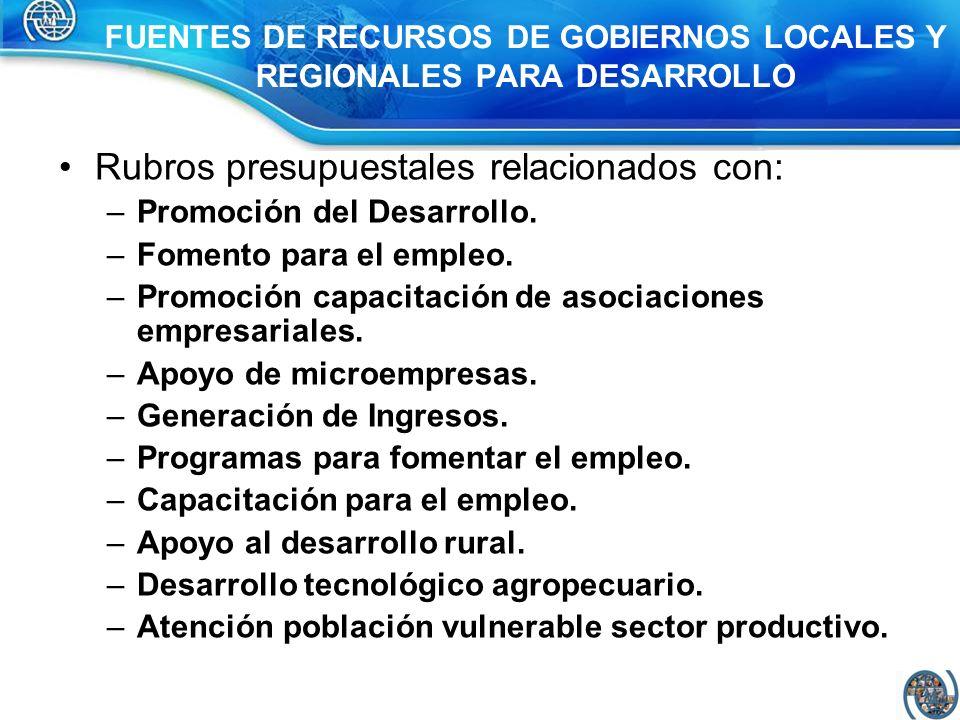 FUENTES DE RECURSOS DE GOBIERNOS LOCALES Y REGIONALES PARA DESARROLLO
