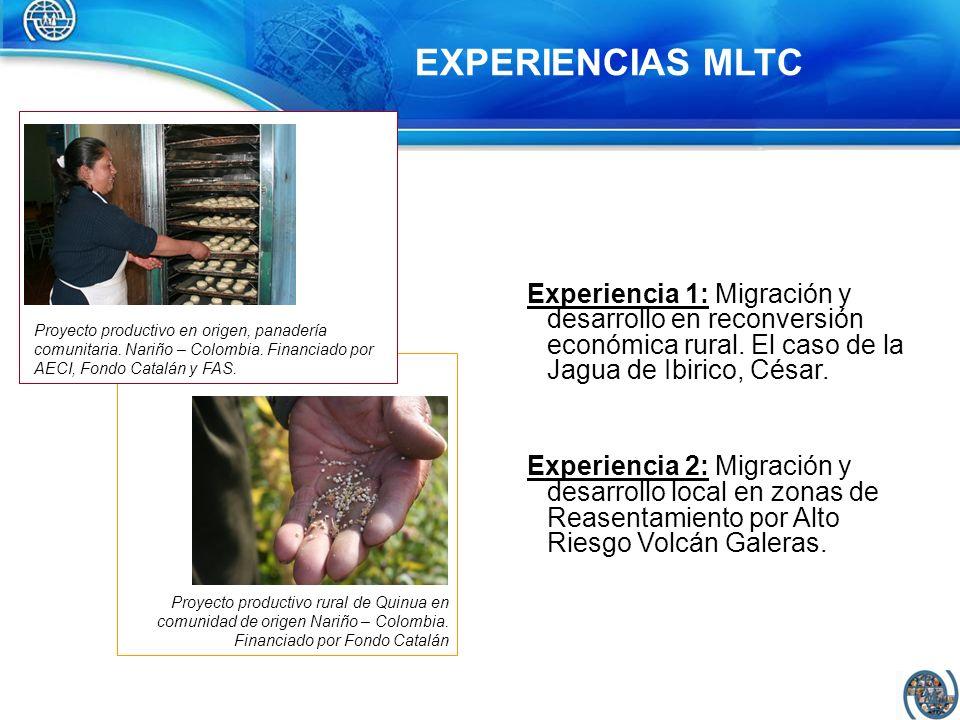EXPERIENCIAS MLTC Experiencia 1: Migración y desarrollo en reconversión económica rural. El caso de la Jagua de Ibirico, César.