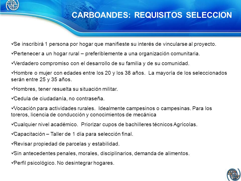 CARBOANDES: REQUISITOS SELECCION