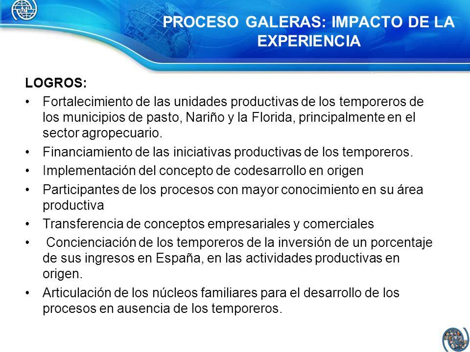 PROCESO GALERAS: IMPACTO DE LA EXPERIENCIA