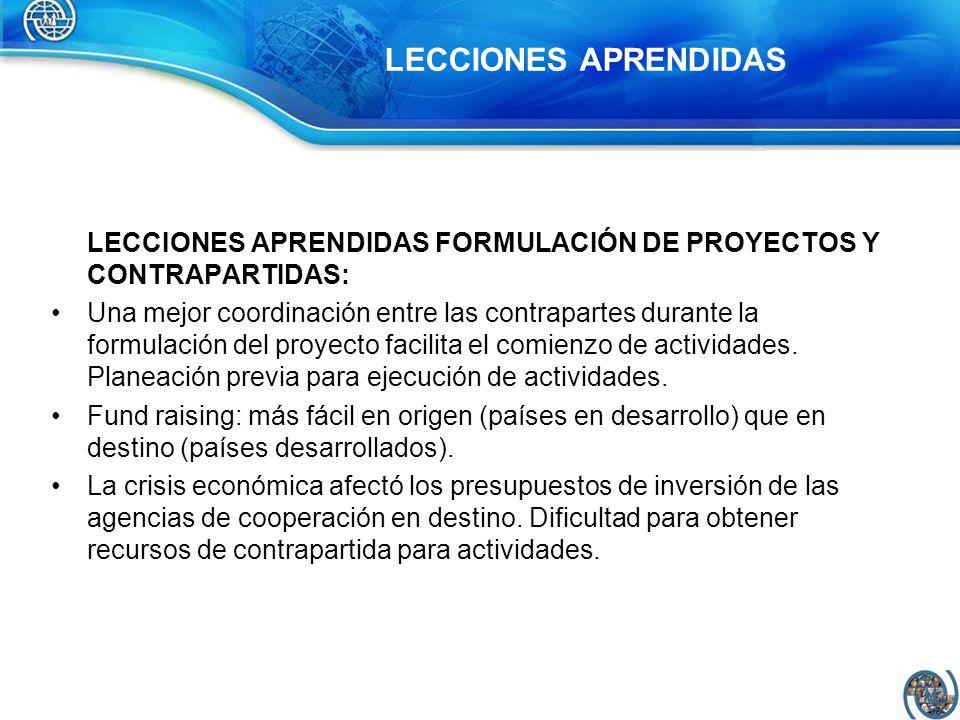 LECCIONES APRENDIDAS LECCIONES APRENDIDAS FORMULACIÓN DE PROYECTOS Y CONTRAPARTIDAS: