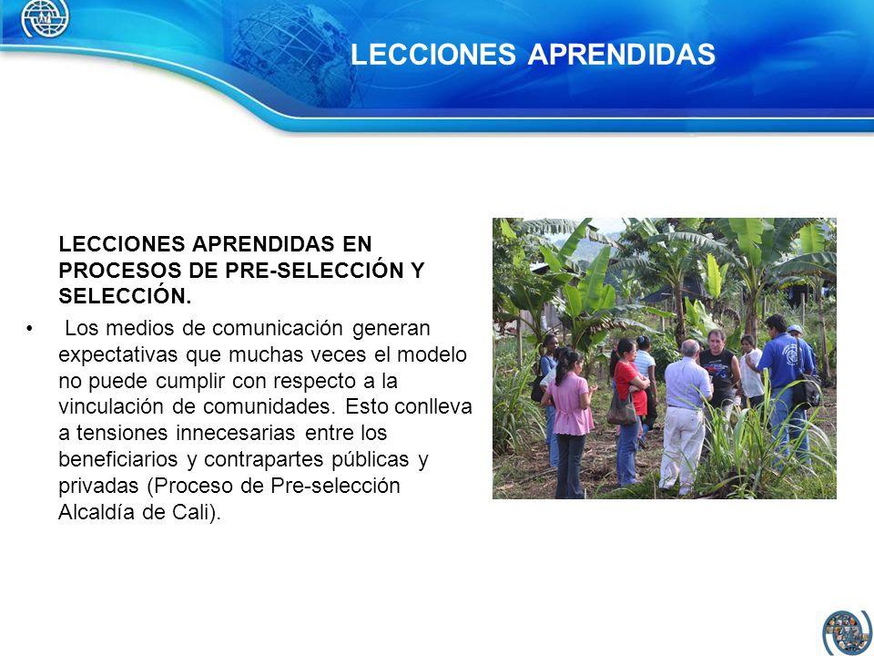 LECCIONES APRENDIDAS LECCIONES APRENDIDAS EN PROCESOS DE PRE-SELECCIÓN Y SELECCIÓN.