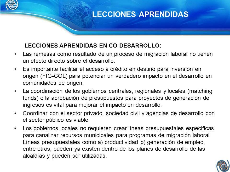 LECCIONES APRENDIDAS LECCIONES APRENDIDAS EN CO-DESARROLLO:
