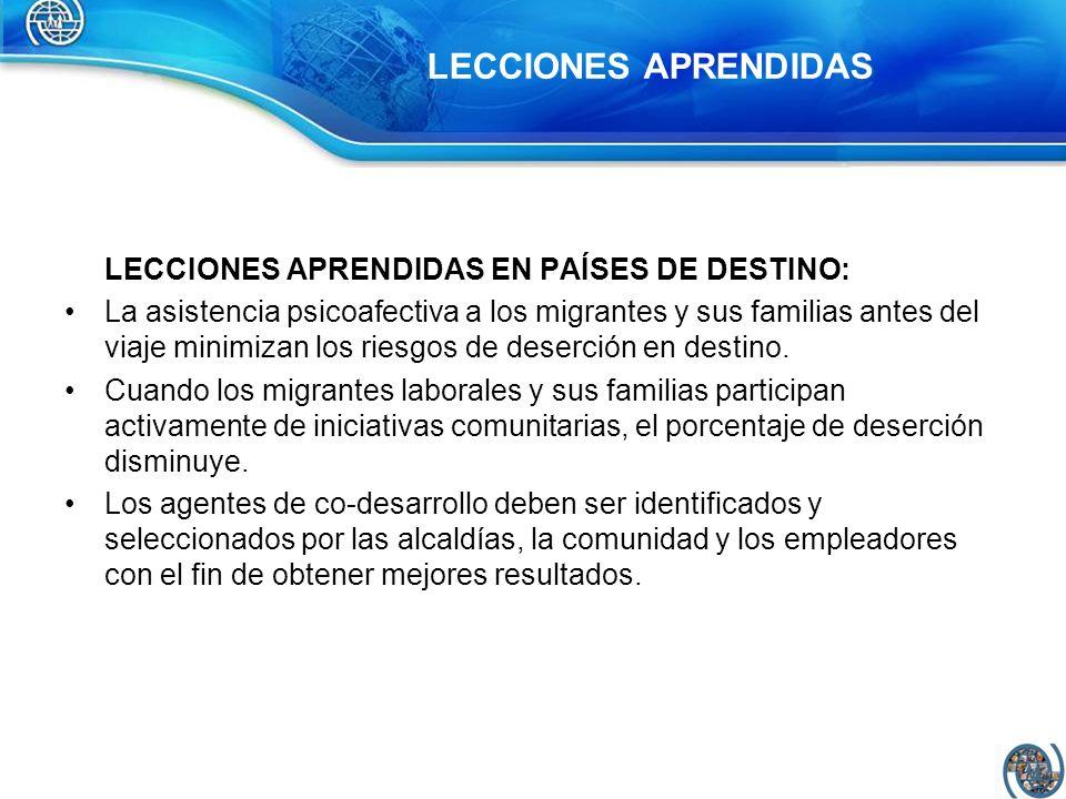 LECCIONES APRENDIDAS LECCIONES APRENDIDAS EN PAÍSES DE DESTINO: