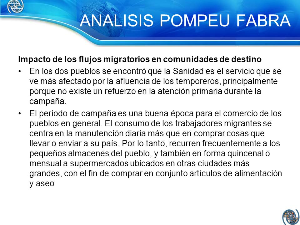 ANALISIS POMPEU FABRAImpacto de los flujos migratorios en comunidades de destino.