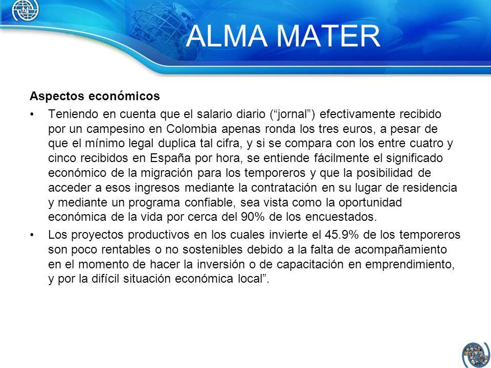 ALMA MATER Aspectos económicos