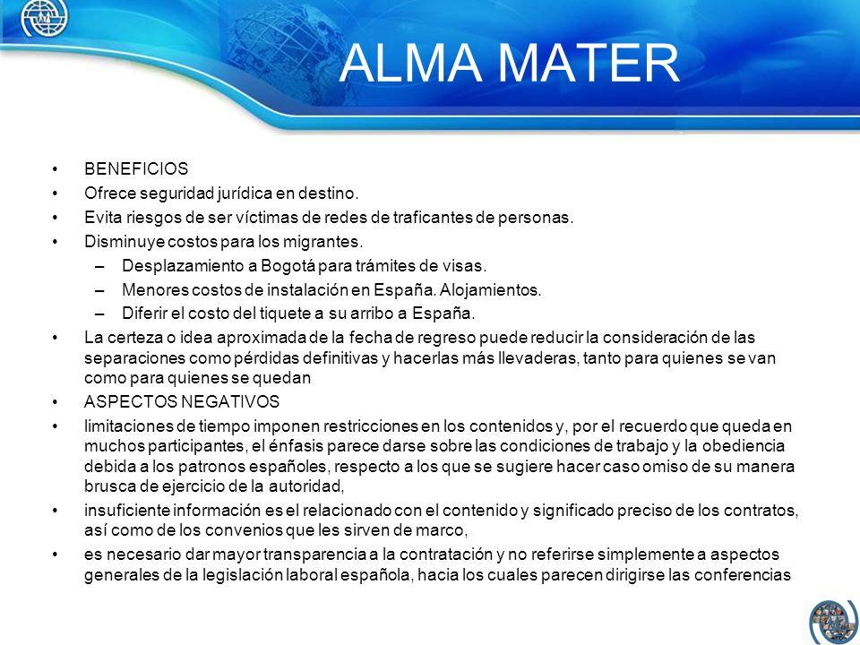 ALMA MATER BENEFICIOS Ofrece seguridad jurídica en destino.