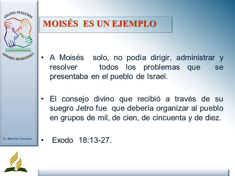 MOISÉS ES UN EJEMPLOA Moisés solo, no podía dirigir, administrar y resolver todos los problemas que se presentaba en el pueblo de Israel.