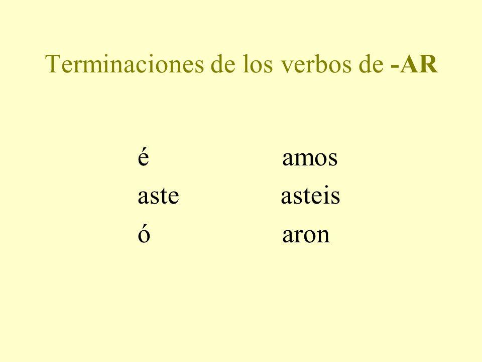 Terminaciones de los verbos de -AR