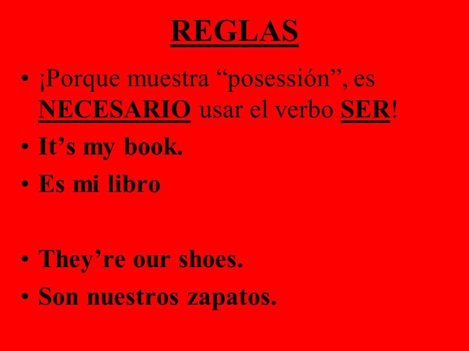 REGLAS ¡Porque muestra posessión , es NECESARIO usar el verbo SER!