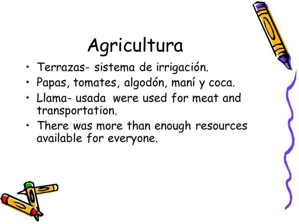 Agricultura Terrazas- sistema de irrigación.
