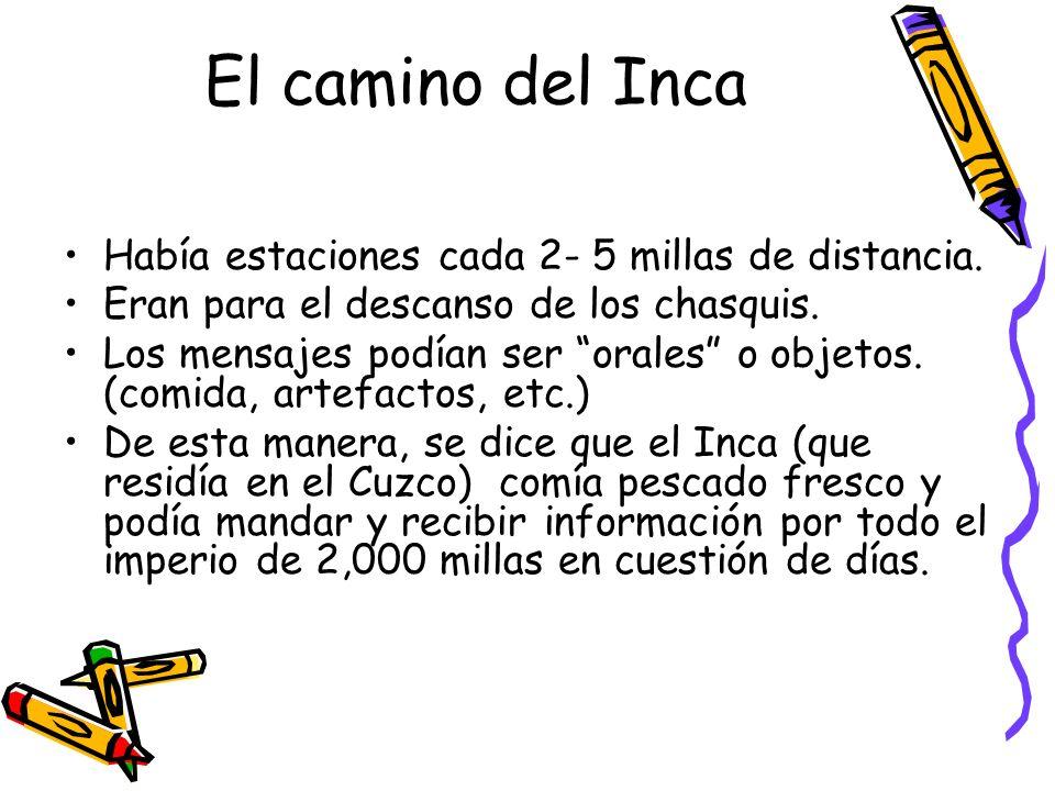 El camino del Inca Había estaciones cada 2- 5 millas de distancia.